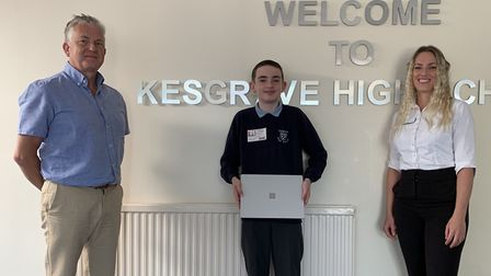 The dental surgery donated the laptop to Kesgrave High School this week. Picture: SUFFOLK ORTHODONT