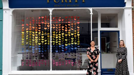 Co-owners Michelle O'Neill and Mellissa Caiels outside Purity Beauty and Wellness Picture: PURITY B