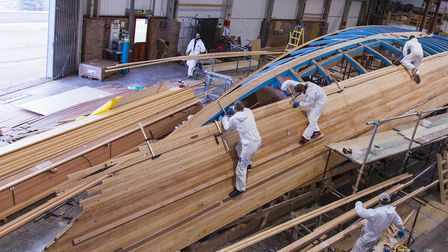 The Spirit 111 hull being built Picture: MIKE BOWDEN