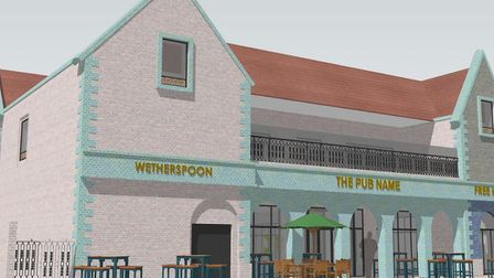 The view from Great Eastern Square - how Felixstowe's new Wetherspoon pub will look Picture: JD WETH