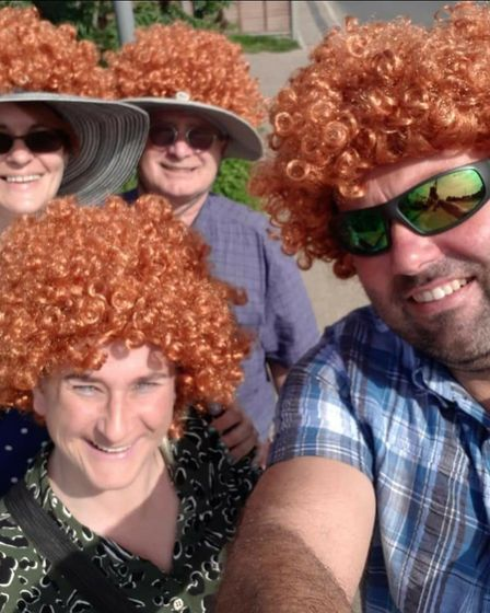 Machaila Pegg and family got the ginger wigs out for the night's show Picture: MACHAILA PEGG