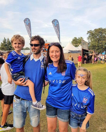 Marie Collins and family wearing the exclusive Ipswich Town shirt Ed released for the event Picture