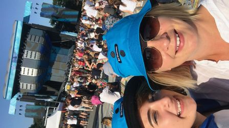 Louise Hamilton and daughter Bee sporting their Ed Sheeran hats ready for the concert to start Pict