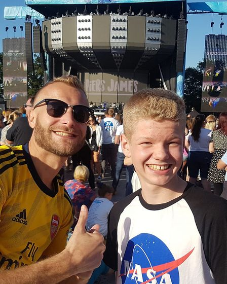 David Clarke's son and grandson ready for Ed to perform Picture: DAVID CLARKE