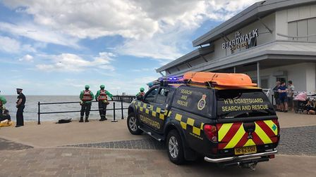 Scenes by Felixstowe Pier as a search operation is underway for two swimmers after getting into diff
