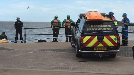 Rescue teams are searching for swimmers missing off the coast of Felixstowe. Picture: RICHARD CORNWE