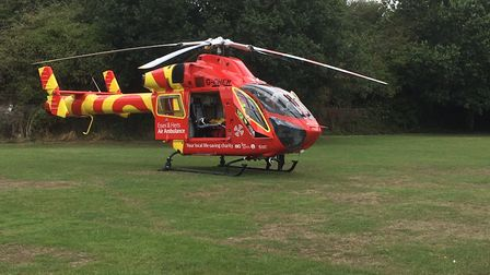 An air ambulance has joined the search for the swimmers missing off the coast of Felixstowe. Picture