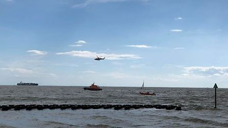 A helicopter and several boats could be seen scouring the sea near to Felixstowe beach this afternoo
