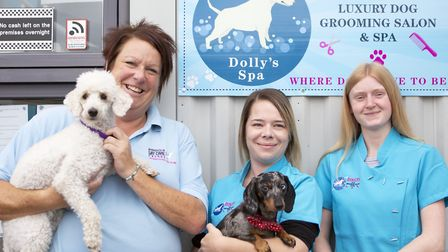Ipswich Dog Day Care Creche has opened Dolly�s Dog Grooming Salon. Owner Clare Holmes is pictured wi