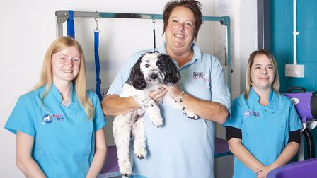 Ipswich Dog Day Care Creche has opened Dolly's Dog Grooming Salon. Owner Clare Holmes is pictured wi