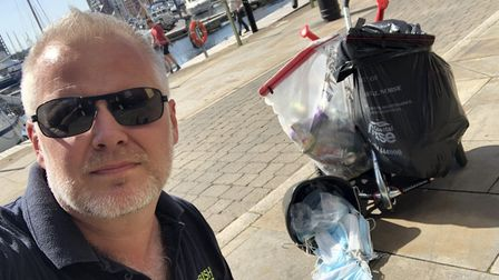 Jason Alexander has collected more than 500 pieces of littered PPE in Ipswich Picture: JASON ALEXAN