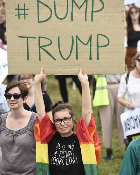 Trump protesters out in Scotland as Donald Trump makes a 'private visit' to play golf. Photograph: P