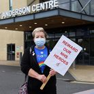 Nurse Elaine at the protest over pay outside Ipswich hospital. Picture: CHARLOTTE BOND
