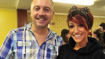 Suzie Lowe with her panto collaborator Dean Wales in rehearsal for a previous show. Picture: LUCY TA
