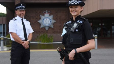 New Suffolk Constabulary recruit, Pc Molly Stanmore, 25, with Sgt Jon Driver, initial training and C