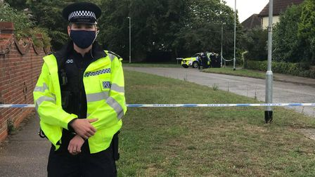 Police at the scene in Kesgrave Picture: NEIL DIDSBURY