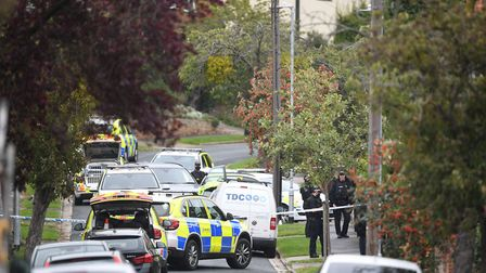 Armed police officers outside a property on Westwood Avenue, Ipswich Picture: JOE GIDDENS/PA WIRE