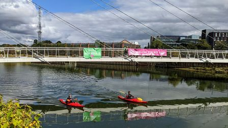 Environmentalist protesters from 'Nuclear For Net Zero' gathered in Ipswich on Monday to show their