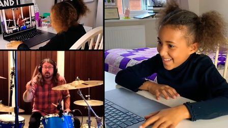 Nandi Bushell watches Dave Grohl respond to her online drum battle challenge and lay down one of his