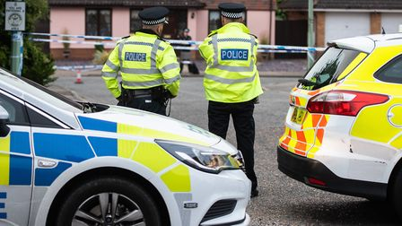 A police cordon remains in place around the scene of the Kesgrave shooting. Picture: SARAH LUCY BROW