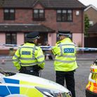 A police presence remains in place after a boy, 15, was shot in Kesgrave Picture: SARAH LUCY BROWN