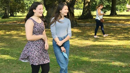 Tasha and Laura at the interactive dance workshop in Christchurch Park, Ipswich Picture: VICTORIA PE
