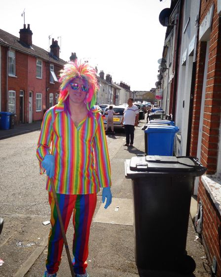 Mr Lennox's costume began with a rainbow tie worn in memory of his sister Picture: PAUL SEARLE
