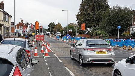 CityFibre work caused problems in Norwich Road. Picture: PAUL GEATER