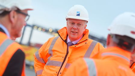 Former transport secretary Chris Grayling visiting the Port of Felixstowe back in 2018. Picture: GRE