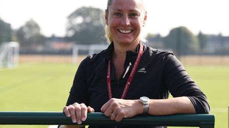 Copleston High School PE teacher Angela Roberts at the revamped 3G pitch in Ipswich. Picture: CHARLO