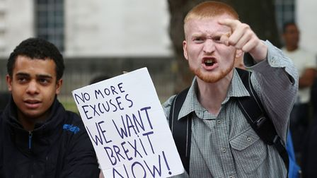 A pro-Brexit protester. Photograph: Justin Tallis/AFP/Getty Images.