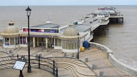 The fenced off and closed Cromer Pier during the Coronavirus Lockdown. Picture: DENISE BRADLEY
