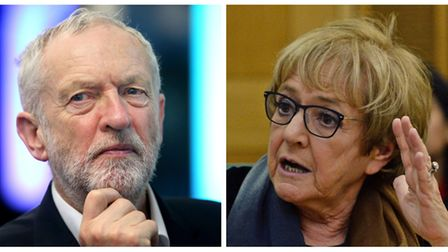From left: Labour leader Jeremy Corbyn and Margaret Hodge, MP for Barking who confronted Mr Corbyn a