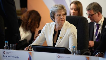 Prime minister Theresa May leads a plenary session during during the second day of Western Balkans s