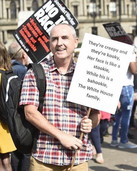 Demonstrators in George Square, Glasgow, for the Scotland United Against Trump protest against the v
