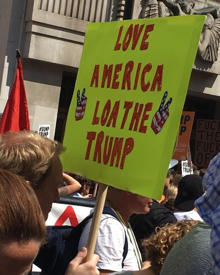 A placard from the Trump protests. Photograph: Jade Cameron