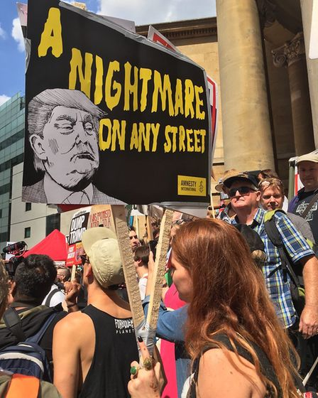A placard from the Trump protests. Photograph: Jono Read