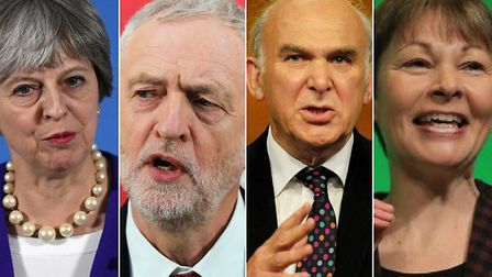 From left to right - Theresa May, Jeremy Corbyn, Vince Cable and Caroline Lucas.