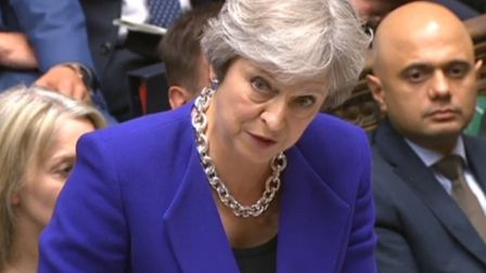 Theresa May speaks during PMQs Photo: PA