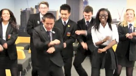 Group of students performing Gangnam-style dance for Coopers-Style video