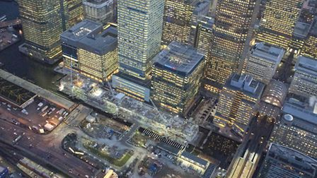 An aerial view of the Crossrail works at Canary Wharf