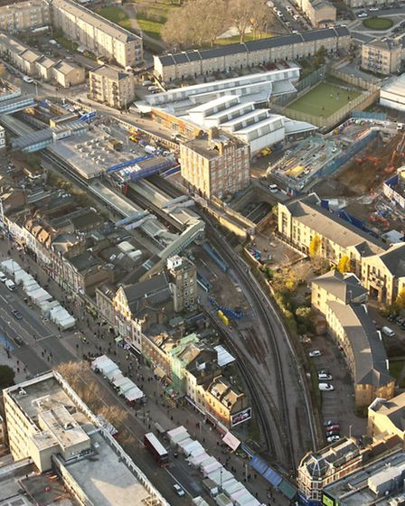 Construction continues on a new Crossrail station at Whitechapel