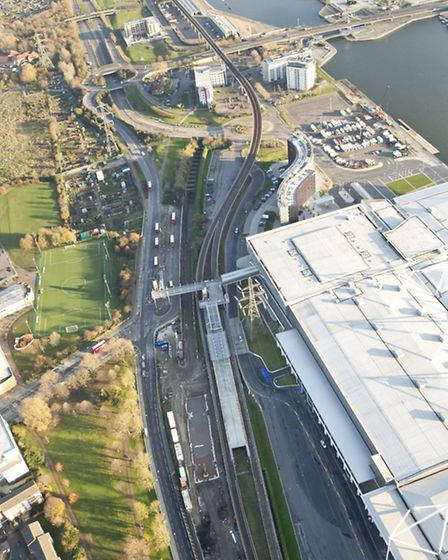 An aerial shot of the Custom House station
