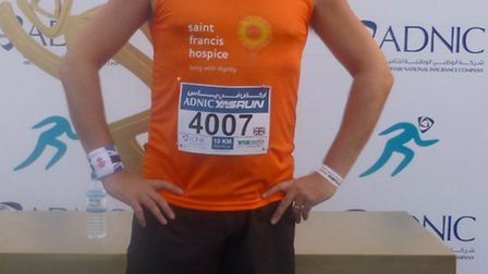John Myers completed a 10km run in Abu Dhabi to raise money for St Francis Hospice, which cared for