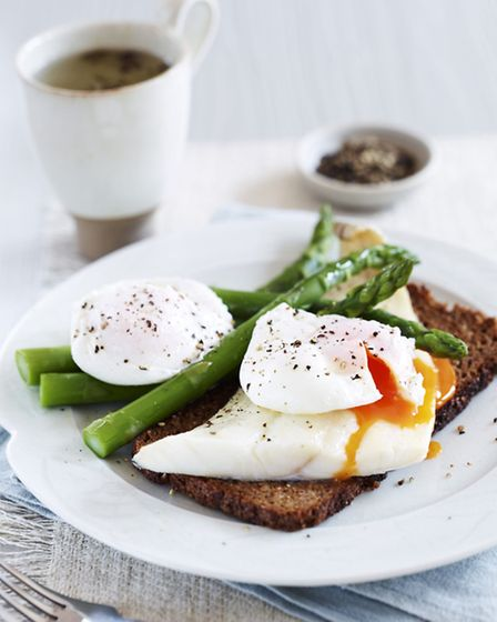 Haddock, eggs and asparagus on rye. Picture PA Photo/Handout.