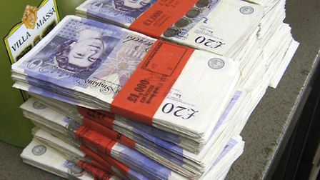 Money from the safe that was uncovered in Martin Cleland's garage in Hornchurch