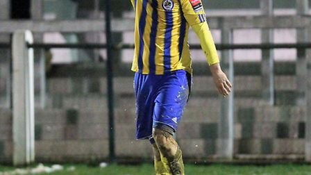Disappointment for Matt Toms of Romford after he gives away a second-half penalty at Wroxham (Gavin