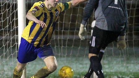 Jack Barry has the ball in the net for Romford but his effort is disallowed at Wroxham (Gavin Ellis/