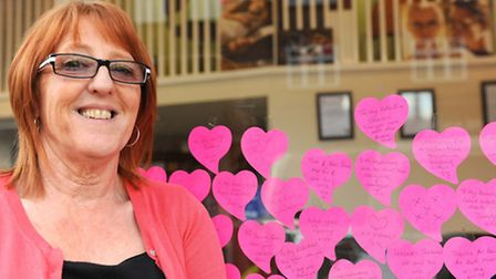 Tracey next to the love messages