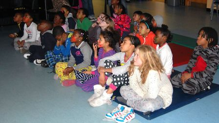 Children who took part in the sleepover also enjoyed a movie at the Froud Centre